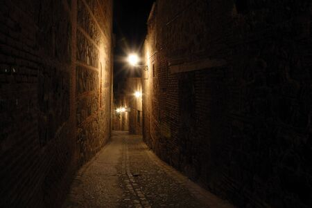 toledo town: Street in the old town of Toledo at night, Spain Stock Photo