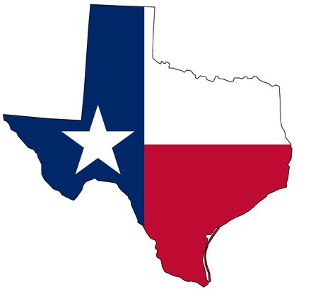 texas: Map of Texas in national colors Stock Photo