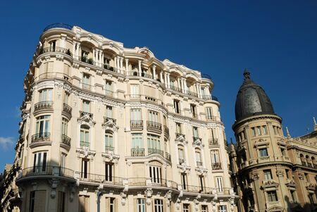gran: Buildings at the Gran Via in Madrid, Spain Stock Photo
