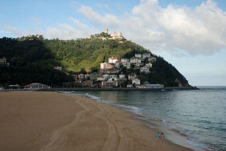 The beach of San Sebastian in Spain on a cloudy day Stock Photo