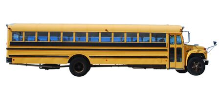 public schools: School bus isolated over white background