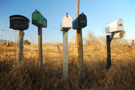 U.S. Mailboxes on a country road Stock Photo