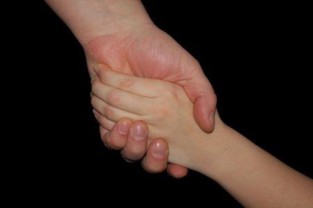 Apret�n de manos aisladas en negro Foto de archivo - 2642194