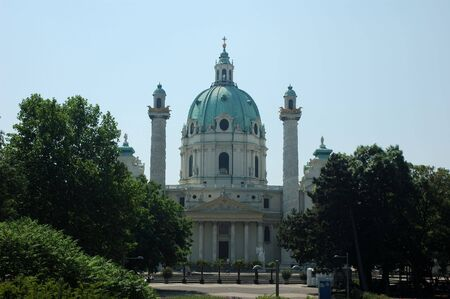 st charles:  St. Charles Cathedral (Karlskirche) in Vienna, Austria Stock Photo
