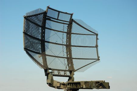 camouflaged tactical military satellite dish Stock Photo