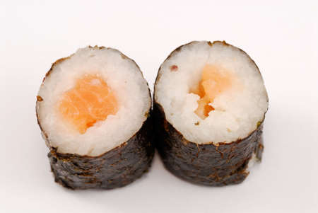 makki: Sushi rolls on white background Stock Photo