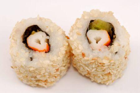 makki: Sushi california rolls on white background