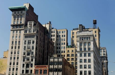 Old buildings in New York City with Art Deco facade