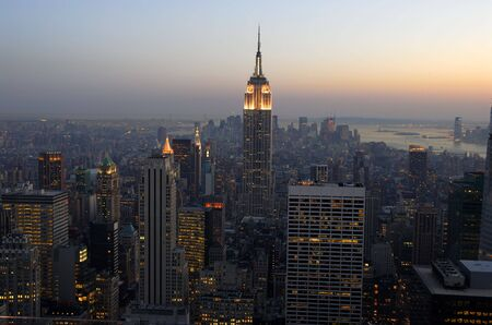 Aerial view over Manhattan at dusk, New York City Stock Photo