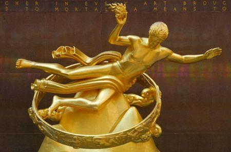 Golden Prometheus Statue at the Rockefeller Center in New York