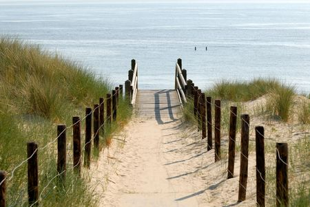 the netherlands: Path to the beach, Netherlands Stock Photo