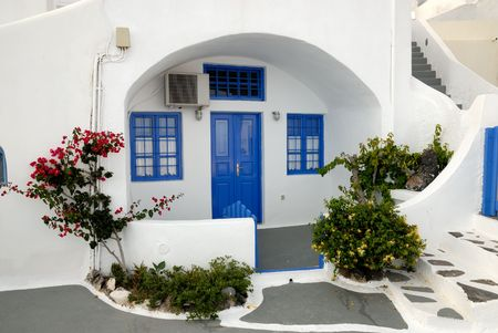 mediterranean home: Traditional house in Santorini, Greece Stock Photo