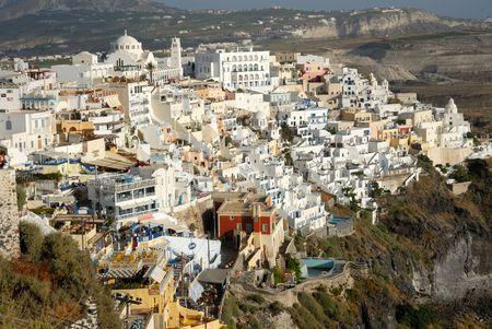 thira: Aerial view over Thira, Santorini, Greece