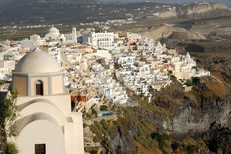 thira: Aerial view over Thira, Santorini, Greece