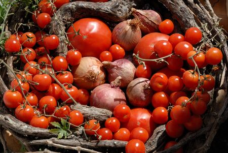 santorini greece: Fresh tomatoes and onions at market in Santorini, Greece