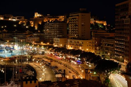 View over Monaco at night photo