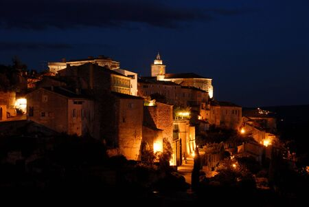 gordes: Town Gordes in southern France illuminated at night