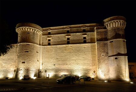 gordes: The castle in Gordes, southern France at night Stock Photo