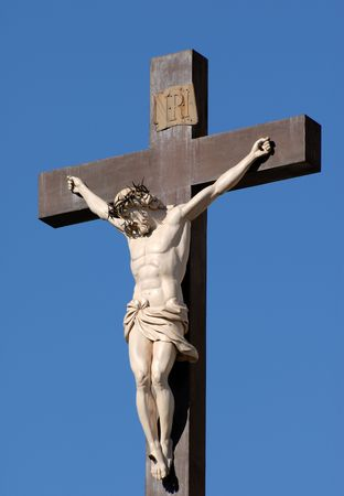 roman catholic: Statue of Jesus Christ at cross in Avignon, France