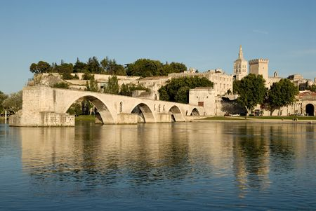 rhone: Pont dAvignon and Rhone river in Avignon, France