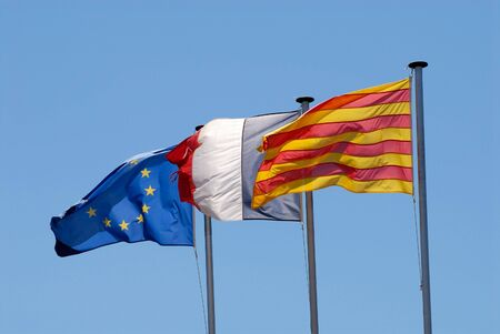 roussillon: Flag of Roussillon, France and European Union Stock Photo