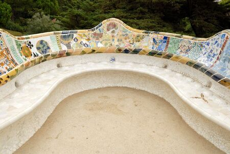guell: Seat in Park Guell designed by Antoni Gaudi, Barcelona Spain