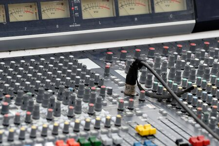 rotative: Close up of an audio mixing desk Stock Photo