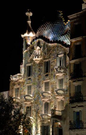 antoni: Antoni Gaudis Gasa Batllo at night, Barcelona, Spain