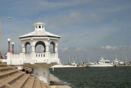 corpus: White pavilion on the promenade of Corpus Christi, TX USA