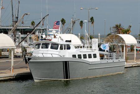 Barco de pesca en el puerto de Corpus Christi, Texas, EE.UU. Foto de archivo - 3789517
