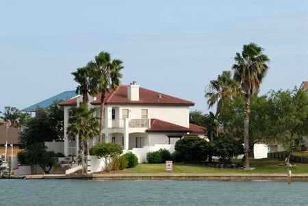 texan: House waterside on Padre Island, Southern Texas, USA