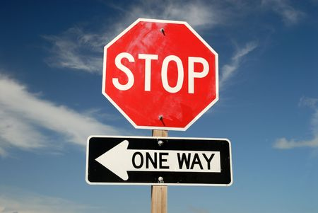 with stop sign: Stop One Way traffic signs