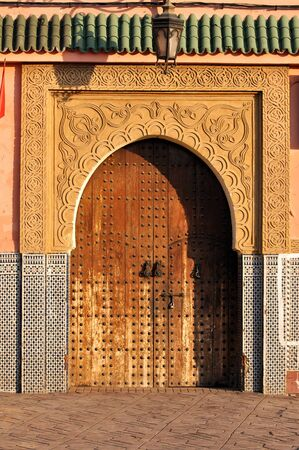 traditional house: Door to a traditional house in Marrakech, Morocco Stock Photo