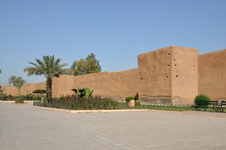 ramparts: Old city wall in Marrakech, Morocco