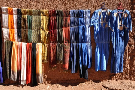 souq: Colorful clothes for sale in Morocco