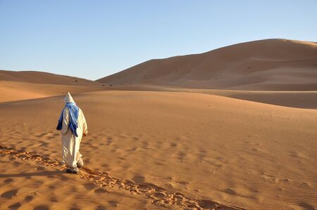 sahara desert: Bedouin in the Sahara desert, Morocco Africa Stock Photo