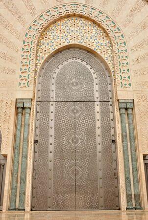 Door in Hassan II Mosque in Casablanca, Morocco photo