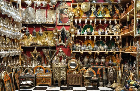 fes: Souvenir shop in the medina of Marrakech, Morocco Stock Photo