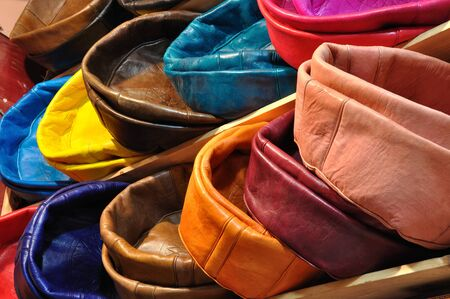 pouffe: Colorful leather cushions for sale in Marrakech, Morocco