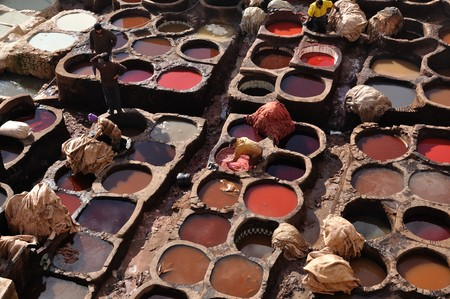 fes: Leather tanning in Fes, Morocco Stock Photo