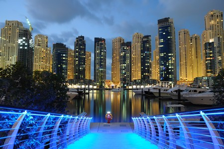 marina water: Dubai Marina at night, United Arab Emirates Stock Photo