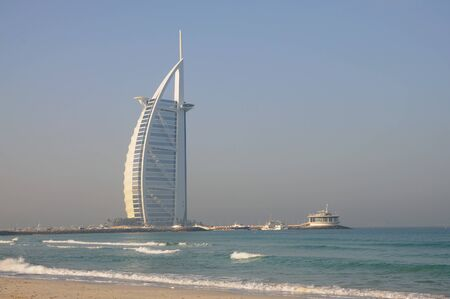 Jumeirah Beach and Hotel Burj Al Arab in Dubai, United Arab Emirates Editorial