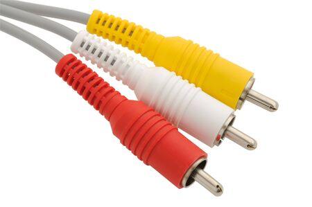 AV cable over white background photo