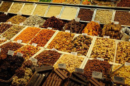boqueria: Sweets for sale in La Boqueria market, Barcelona Spain