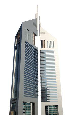 Emirates Towers isolated over white background. Dubai, United Arab Emirates
