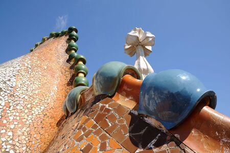 casa: Roof of Antoni Gaudis Casa Batllo, Barcelona Spain Stock Photo