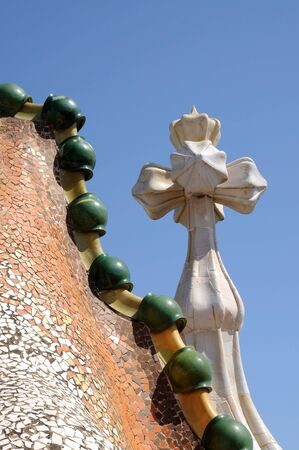 antoni: Roof detail of Antoni Gaudis Casa Batllo, Barcelona Spain Stock Photo
