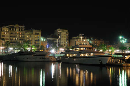Marina in Barcelona at night photo
