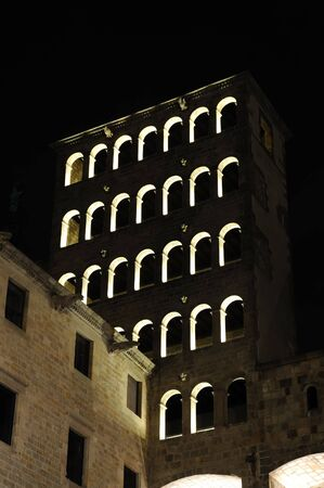 rei: Ancient Building at Placa del Rei in Barcelona, Spain