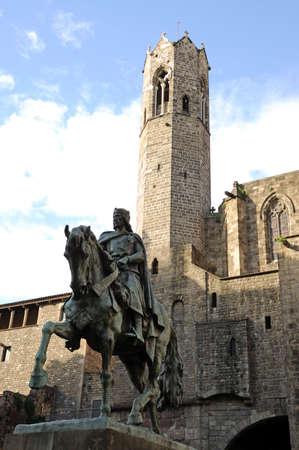 Statue of Count Ramon Berenguer IV on Placa Ramon Berenguer el Gran in Barcelona, Spain photo